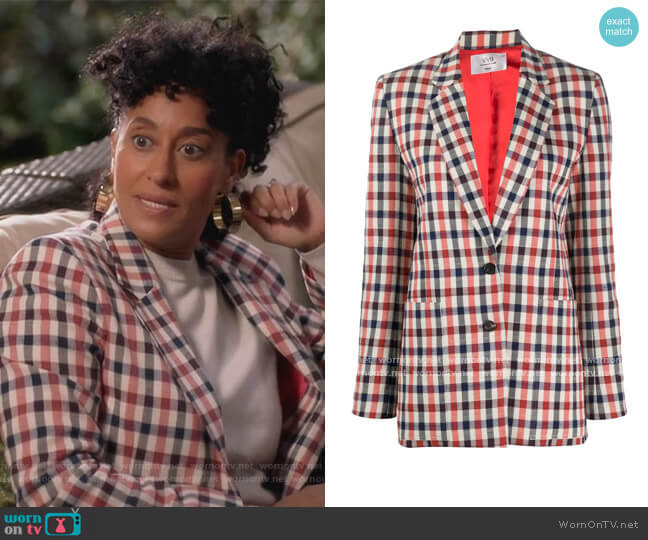 Checked Fitted Blazer by Victoria Victoria Beckham worn by Rainbow Johnson (Tracee Ellis Ross) on Blackish