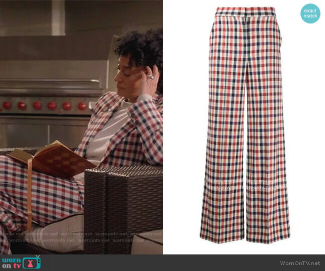Checked Pants by Victoria Victoria Beckham worn by Rainbow Johnson (Tracee Ellis Ross) on Blackish