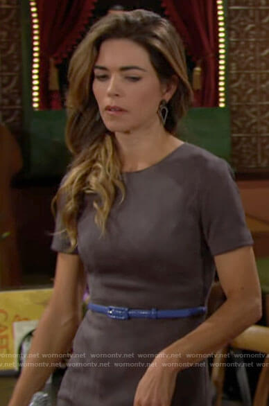 Victoria's grey suede short sleeve dress on The Young and the Restless