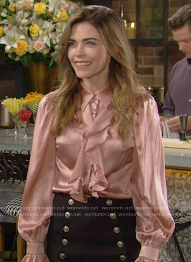Victoria's pink ruffled blouse and button detail skirt on The Young and the Restless
