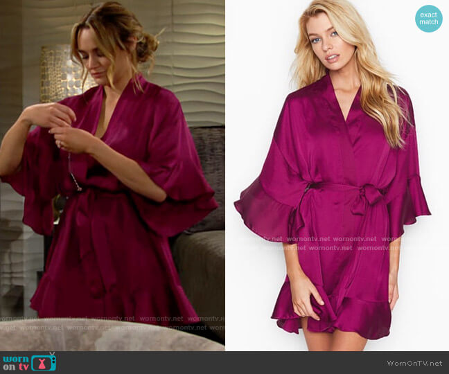 Victorias Secret Flounce Satin Robe worn by Summer Newman (Hunter King) on The Young & the Restless