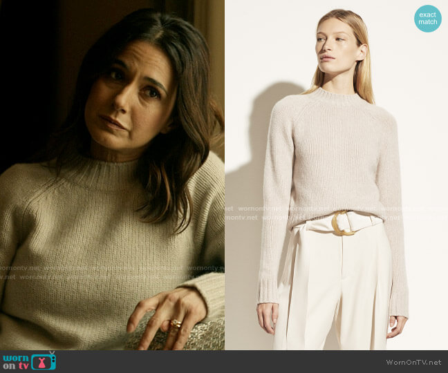 Vince Mock Neck Cashmere Sweater in Heather Marble worn by Lana Lang Cushing (Emmanuelle Chriqui) on Superman & Lois