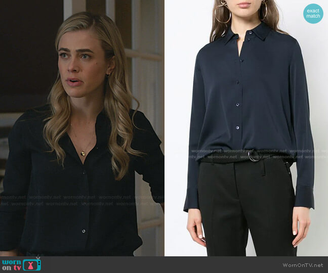 Slim Fitted Stretch-Silk Blouse by Vince worn by Michaela Stone (Melissa Roxburgh) on Manifest