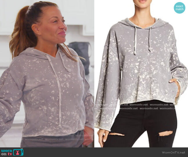 Acid Wash Boxy Hoodie by Vintage Havana worn by Dolores Catania  on The Real Housewives of New Jersey