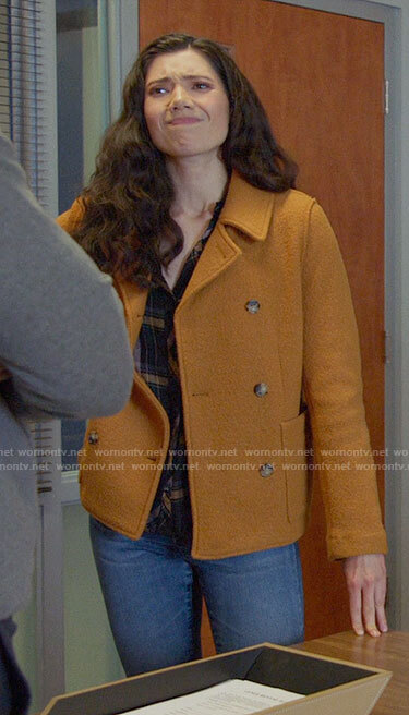 Violet's mustard peacoat on Chicago Fire