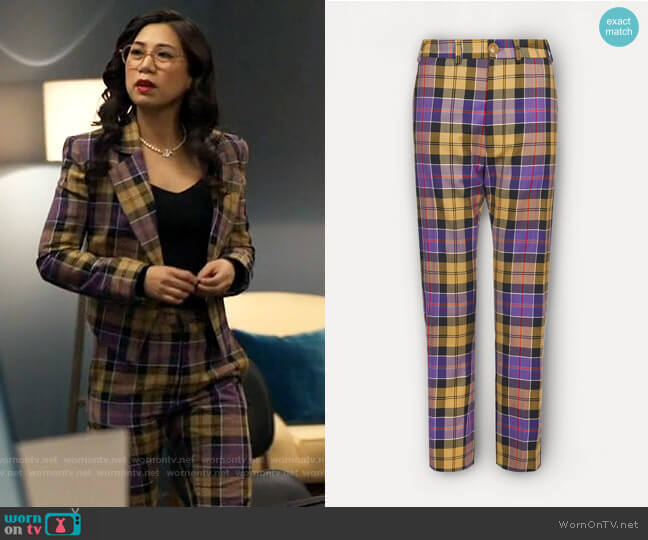 Vivienne Westwood George Trousers in Tartan worn by Melody Bayani (Liza Lapira) on The Equalizer