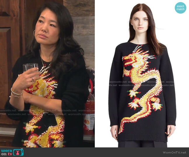 Funky Dragon Sweater by Valentino worn by Crystal Kung Minkoff  on The Real Housewives of Beverly Hills