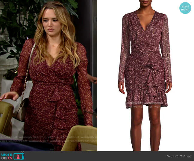 Walter Baker Floral-Print Mini Faux Wrap Dress worn by Summer Newman (Hunter King) on The Young & the Restless