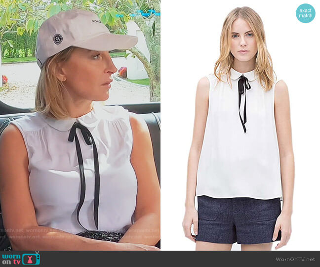 Doll Collar Sleeveless Slim Slim Loose Tide Shirts Blouse by We Heart worn by Sonja Morgan  on The Real Housewives of New York City