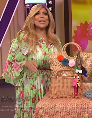 Wendy's green floral pleated dress on The Wendy Williams Show