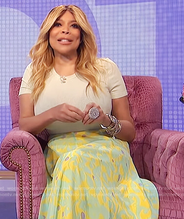 Wendy's mint ribbed tee and printed skirt on The Wendy Williams Show