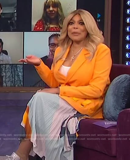 Wendy's orange belted blazer and printed skirt on The Wendy Williams Show