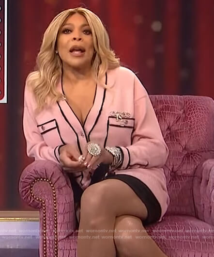 Wendy's pink contrast trim cardigan on The Wendy Williams Show