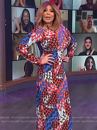 Wendy's printed midi dress on The Wendy Williams Show