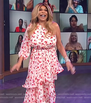 Wendy's pink floral one sleeve dress on The Wendy Williams Show