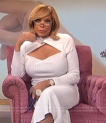 Wendy's white ribbed cutout dress on The Wendy Williams Show