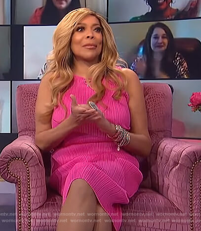 Wendy's pink ribbed sleeveless dress on The Wendy Williams Show