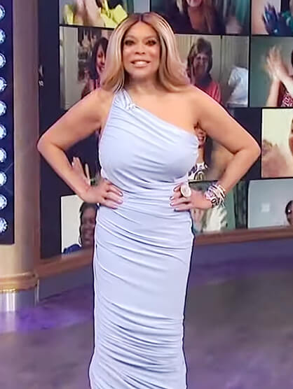 Wendy's blue one shoulder dress on The Wendy Williams Show