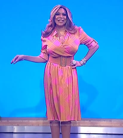 Wendy's orange and pink check wrap dress on The Wendy Williams Show