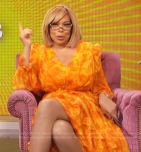 Wendy's orange floral print dress on The Wendy Williams Show