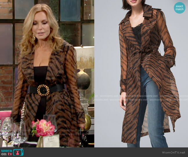 White House Black Market Organza Tiger Print Trench Coat worn by Lauren Fenmore (Tracey Bregman) on The Young & the Restless