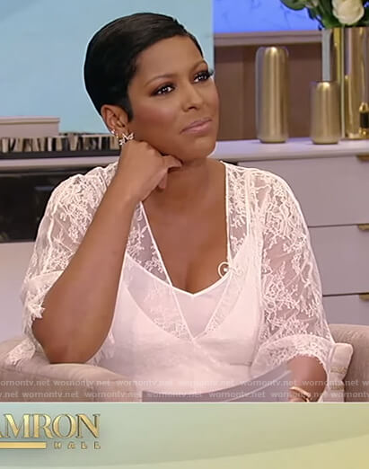 Tamron's white lace jumpsuit on Tamron Hall Show