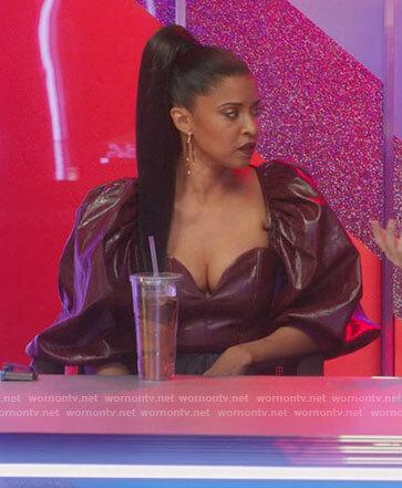 Wickie's burgundy leather puff sleeve top on Girls5eva