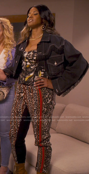 Wickie's fringed denim jacket on Girls5eva