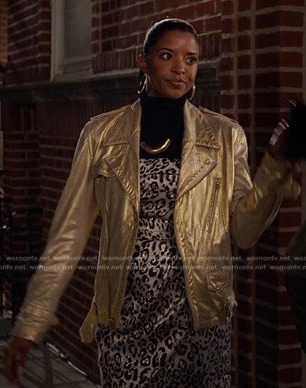 Wickie's gold leather moto jacket on Girls5eva