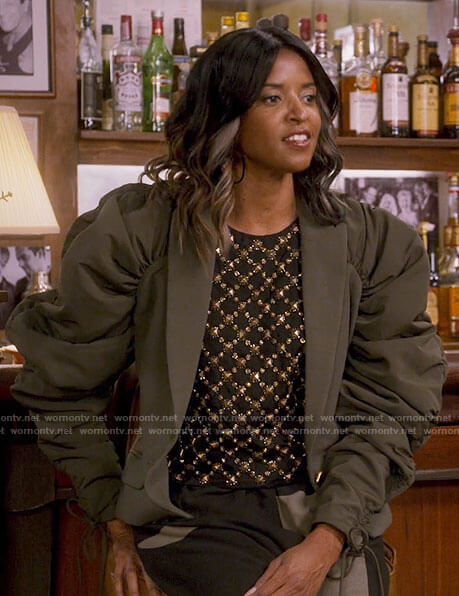 Wickie's green puff sleeve blazer and embellished top on Girls5eva