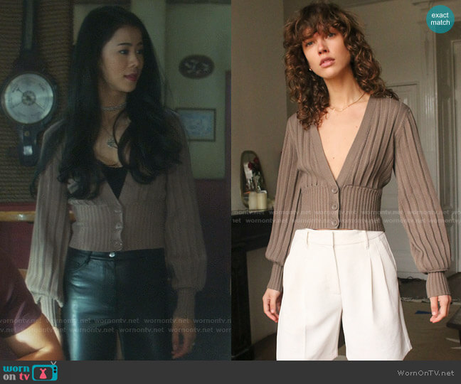 Plunge Front Cardigan in Grey Taupe by Wilfred worn by George Fan (Leah Lewis) on Nancy Drew