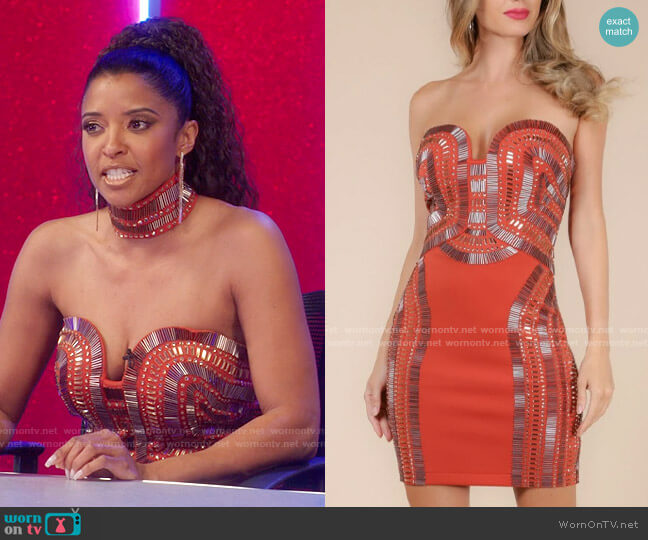 Wow Couture Embellished Strapless Dress worn by Wickie Roy (Renée Elise Goldsberry) on Girls5eva