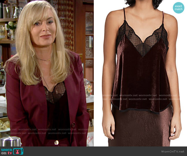 Zadig & Voltaire Christy Velvet Blouse in Bordeaux worn by Ashley Abbott (Eileen Davidson) on The Young & the Restless
