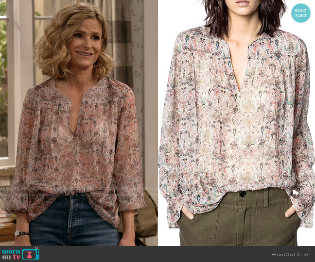 Zadig & Voltaire Taya Mousseline Floral Beaded Top worn by Jean Raines (Kyra Sedgwick) on Call Your Mother