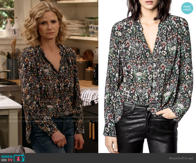 Zadig & Voltaire Tink Kaleido Floral Top worn by Jean Raines (Kyra Sedgwick) on Call Your Mother