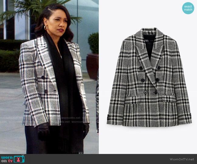 Zara Check Blazer worn by Iris West (Candice Patton) on The Flash