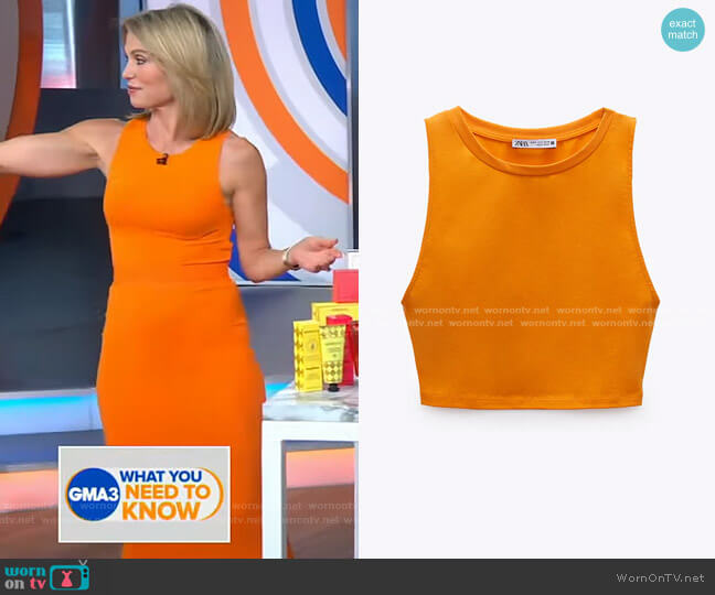 Crop Hater Top by Zara worn by Amy Robach  on Good Morning America