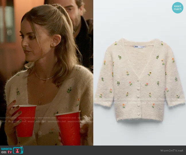 Zara Embroidered Beaded Cardigan worn by Kaitlynn Carter  on The Hills New Beginnings