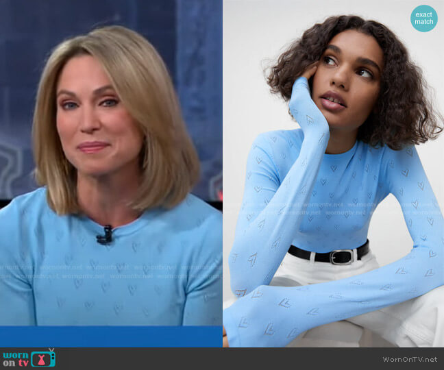 Knit Heart Sweater by Zara worn by Amy Robach  on Good Morning America