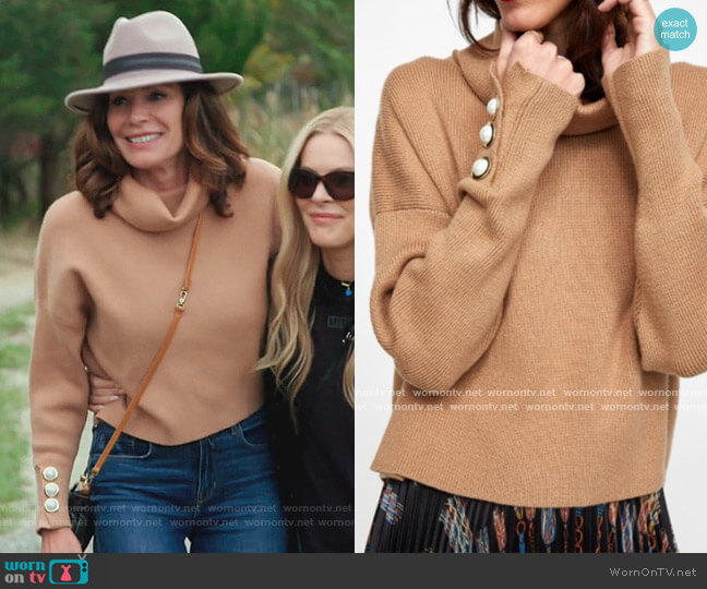 Pearl Button Cuff Sweater by Zara worn by Luann de Lesseps  on The Real Housewives of New York City