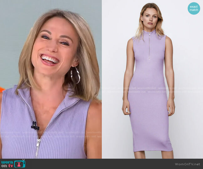 Ribbd Zip-Up Dress by Zara worn by Amy Robach  on Good Morning America