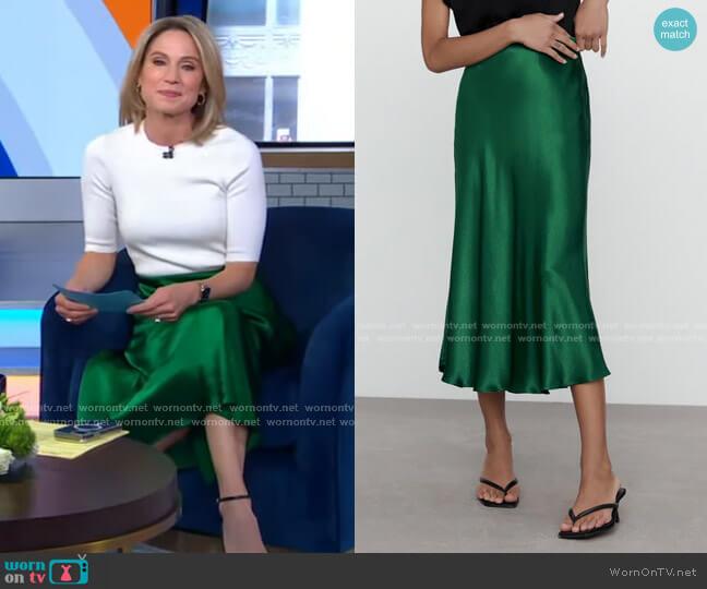 Satin Effect Midi Skirt by Zara worn by Amy Robach  on Good Morning America
