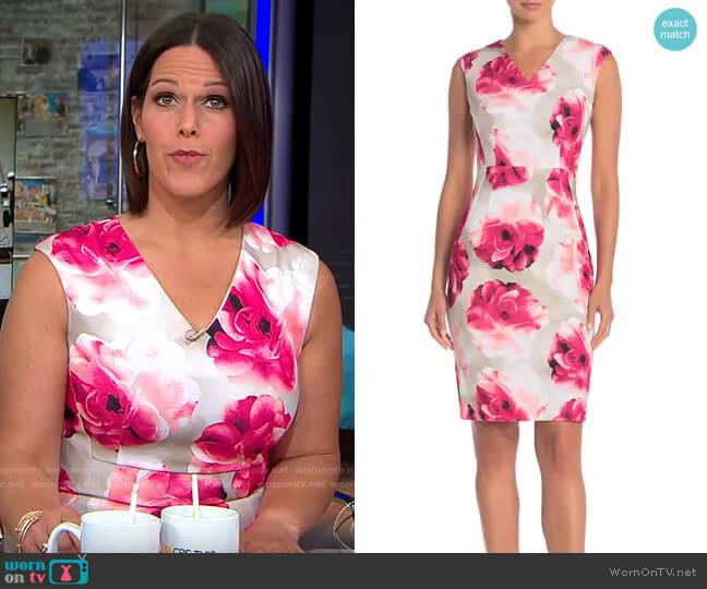 ZDNU Modern American Designer Floral V-Neck Sheath Dress worn by Dana Jacobson  on CBS This Morning
