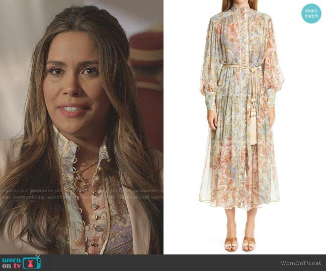 Lucky Bound Long Bishop Sleeve Silk Dress by Zimmermann worn by Cristal Jennings (Daniella Alonso) on Dynasty