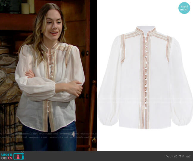 Zimmermann Cassia Corded Blouse worn by Hope Logan (Annika Noelle) on The Bold & the Beautiful