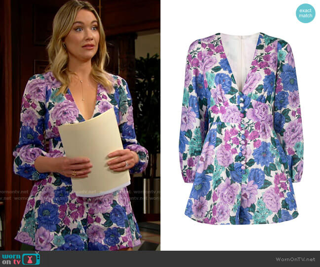Zimmermann Poppy Plunge Playsuit worn by Flo Fulton (Katrina Bowden) on The Bold & the Beautiful