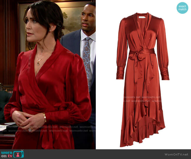 Zimmermann Ladybeetle Wrap Silk Midi Dress worn by Quinn Fuller (Rena Sofer) on The Bold & the Beautiful