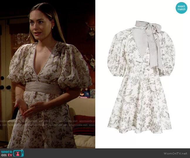 Zimmermann Linen Day Dress worn by Hope Logan (Annika Noelle) on The Bold & the Beautiful