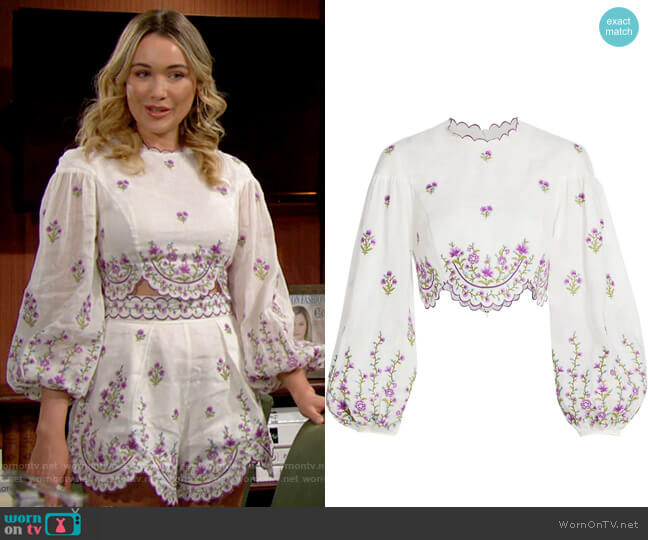 Zimmermann Poppy Floral Cropped Top worn by Flo Fulton (Katrina Bowden) on The Bold & the Beautiful