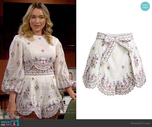 Zimmermann Poppy Floral Scalloped Shorts worn by Flo Fulton (Katrina Bowden) on The Bold & the Beautiful